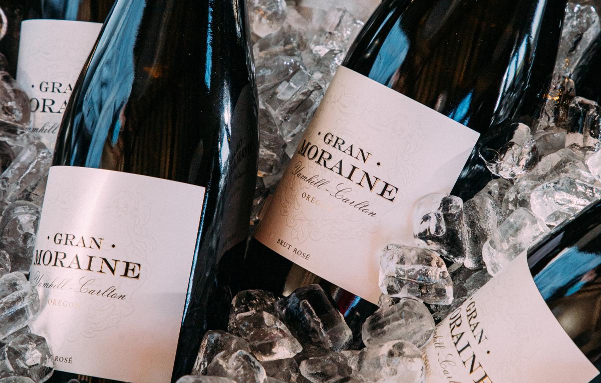 Bottles of Gran Moraine wine in an ice bucket